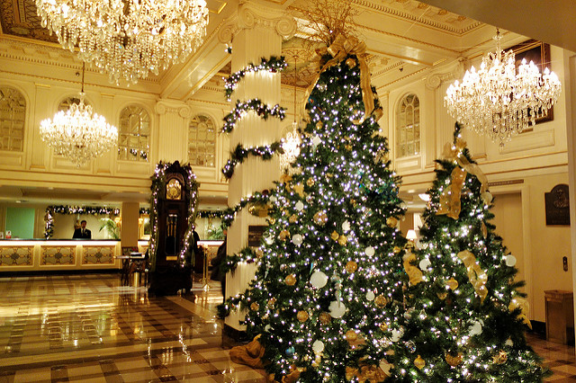 beautiful christmas decorations in the lobby of the hotel montelone of new orleans