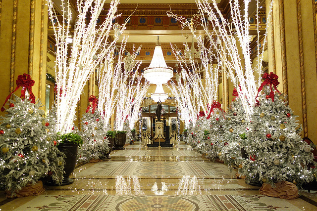 Beautiful Christmas decorations in the lobby of the Hotel Montelone of New Orleans. Roosevelt Hotel